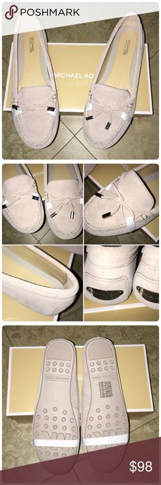 ✨🆕 MICHEAL KORS DAISY SUEDE MOCCASINS ✨ BRAND NEW✨ Had foot surgery and can't wear:( Absolutely gorgeous with anything. The color is cement with silver hardware. 🚫No trading. ✨REASONABLE OFFERS PLEASE✨Box included. Michael Kors Shoes Flats & Loafers