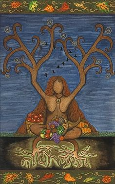 Mabon greeting card by EarthStarStudios on Etsy.com. Mabon takes place on or near the Autumn Equinox, and is considered the second harvest.