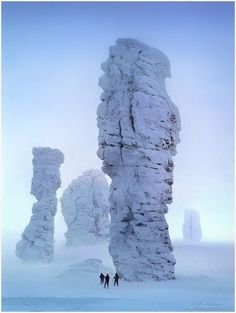 Man-Pupu-Nyor    Seven rock formations called Man-Pupu-Nyor (little mountain of the gods) stand in the Komi Republic, a part of the Ural Mountain area of Russia. The seven pillars range from 30 to 42 meters tall! They formed when erosion washed away the mountain that once surrounded them over a period of 200 million years.