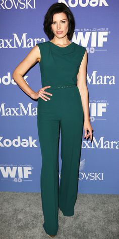 06/16/13: At the Women in Film Crystal + Lucy Awards, Jessica Pare one-upped the others with an on-trend sophisticated teal jumpsuit. #lookoftheday