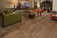 Contemporary Living Room with Hardwood floors, Mirage Hardwood Floors Old Hickory Fossil