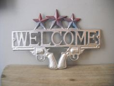 Chrome Silver .. Rustic Cast Iron .. Welcome by MamaLisasCottage, $31.99