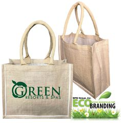 Jute Tote Bag with Cotton Handles and Piping