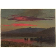 """""""Sunset, Hudson, New York,"""" December 25, 1873. Frederic Edwin Church, American, 1826–1900. A view across a body of water toward the Catskill Mountains in the distance, at sunset. The brilliant red clouds glow from the setting sun and are reflected in the water below. A small figure walks at left."""