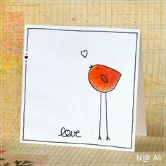 Too cute, I still have a thing for these bird cards. Simple line drawings are sometimes the best thi Tarjetas Diy, Hand Drawn Cards, Simple Line Drawings, Karten Diy, Bird Cards, Bird Drawings, Watercolor Cards, Watercolour, Valentine Day Cards