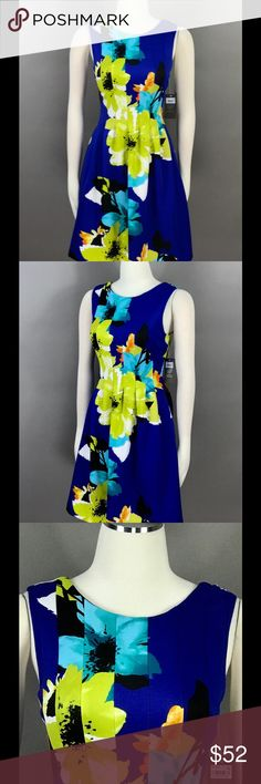 VINCE CAMUTO Scuba Dress Sz 6 Floral Printed NEW VINCE CAMUTO Blue Multi Scuba Dress Sz 6 Floral Printed Pleated Pocketed on the Sides Lined $138 Vince Camuto Dresses Mini
