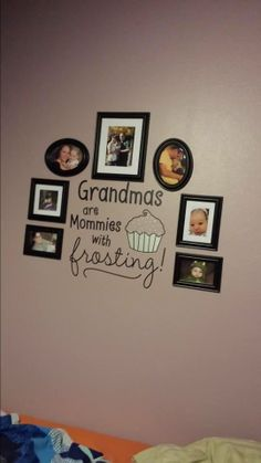 Grandmas are mommies with frosting super cute vinyl lettering saying. Get it in your choice of 2 of any of our over 50 different colors. I love the way she displayed her grandchildren around this saying #customerlove #grandma