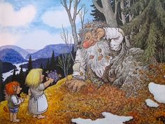 From the book TROLL, The original book of Norwegian Trolls by Jan Loof. Father Troll has had enough, he wraps himself up in a blanket, go. Fantasy Kunst, Fantasy Art, Spring Scenery, Baumgarten, Kobold, Creation Photo, Funny Troll, Indigenous Art, Hanging Pictures