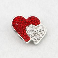 Factory wholesale Red & White Crystal Heart Snap Button , Double Heart Full Rhinestone Diy Snap Button Charms Jewelry