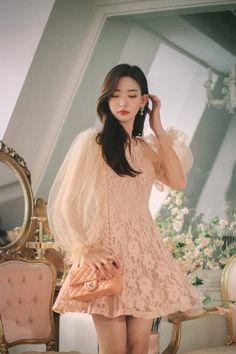 LOVE peach lace see-through dress Korean Fashion Dress, Kpop Fashion Outfits, Ulzzang Fashion, Ulzzang Girl, Trendy Fashion, Fashion Dresses, Casual Dresses, Girls Dresses, Dress Pesta
