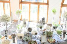 Elegant Candy Buffet.  Black, White, Apple Green & Damask.  www.SimplisticCharmLinenRental.com & More!