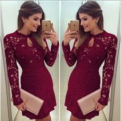 Sexy Women Casual Dress Evening Cocktail Lace Long Sleeve Bodycon Mini Skirt #Unbranded #Sexy #Cocktail