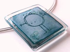 Fused glass jewelry  Funny square pendant  Blue by BGLASSbcn