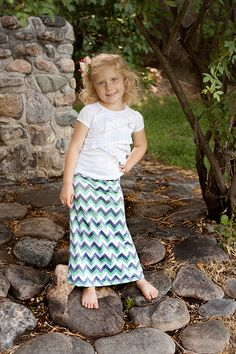 Mint and gray chevron maxi skirt for little girls!  Can't get any cuter!