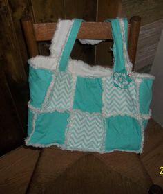 Rag Quilt Purse, Tote, Diaper Bag, Shopping Bag, up cycled denim,Turquoise Chevron Fabric, Fabric handbag,shoulder bag, top handle handbag by Prinilla on Etsy