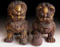 Old Chinese Gilt Iron Guardian Lion Foo Dog Pair