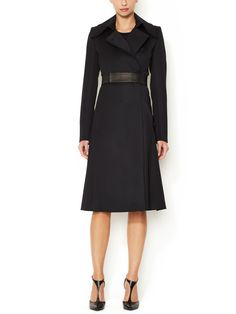 Wool Trench Coat with Leather Belt by Narciso Rodriguez at Gilt $1000