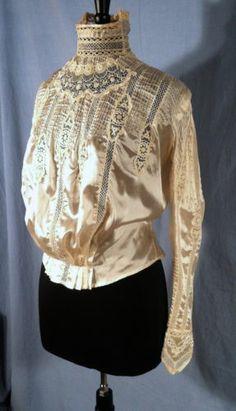 Vintage Victorian Edwardian Blouse Ivory Silk Satin Lace Gibson Girl | eBay