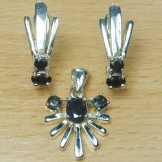 Genuine Blue Sapphire Marcasite 925 Sterling Silver Jewelry Set