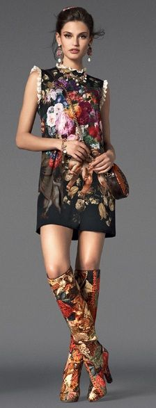 Women's Fashion - ☯☮ॐ American Hippie Bohemian Style ~ City Boho . Gypsy Dress and Boots, Vogue Dolce & Gabbana FW 2013 Fashion Week, Look Fashion, High Fashion, Womens Fashion, Fashion Design, Fashion Trends, Classic Fashion, Fashion Models, Haute Couture Style