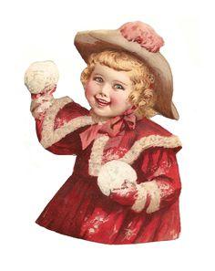 Antique Images: Free Vintage Digital Scrap: Victorian Scrap of Cute Girl in Pink Throwing Snowballs