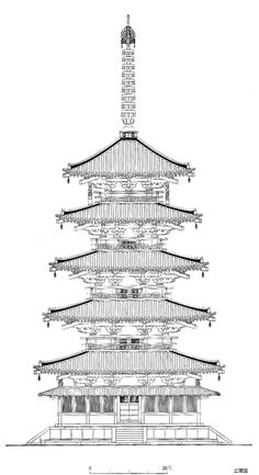 法隆寺五重塔立面図