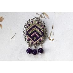 Macrame Brooch with Natural Gemstones, Braided Woven Gypsy Fiber... (€18) ❤ liked on Polyvore featuring jewelry, brooches, macrame jewelry, gemstone jewellery, gem jewelry, crochet jewelry and crochet brooch