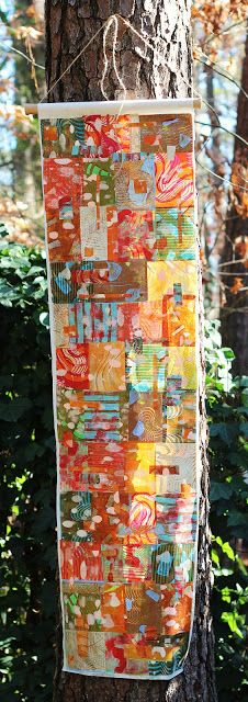 Texterial: Find Your Comfort - paper banner made with Gelli plate prints on rice paper, cut up, collaged and reassembled....in memory of 26 lives ended too soon by Jenny
