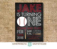 Child's Birthday Invitation Baseball Birthday by AestheticJourneys
