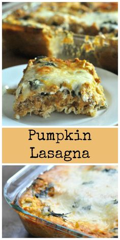 Pumpkin Lasagna - Dining with Alice This Pumpkin lasagna is easy to make and filled with all the great flavors of fall. Stuffed with cheese, spinach, pumpkin and creamy alfredo. Pumpkin Recipes, Fall Recipes, Holiday Recipes, Pumpkin Dishes, Holiday Foods, Think Food, Love Food, Vegetarian Recipes, Cooking Recipes