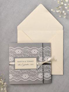 Custom listing (100) Ivory Lace  Wedding Invitation, Grey Wedding Invitation, Pocket Fold Wedding Invitations