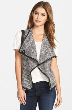 KUT from the Kloth 'Veronia' Faux Leather Trim Drape Front Vest available at #Nordstrom
