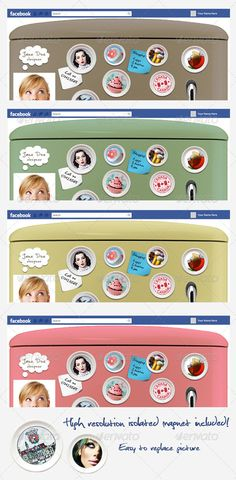 FB Timeline Cover - Fridge  #GraphicRiver         Fantastic and unusual facebook timeline cover for creative people, who like to be different! - PSD file - Well organized and fully layered - Change the colour of your facebook fridge by adjusting photo filter! - Smart Objects - Easy to edit text - Hi-res (2628×2599) isolated fridge magnet included as Smart Object for you to use anywhere you like!      Created: 13July12 GraphicsFilesIncluded: PhotoshopPSD Layered: Yes MinimumAdobeCSVersion…