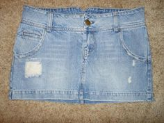 American Eagle Outfitters Distressed Light Denim MINI Jean SKIRT Size 8 #AmericanEagleOutfitters #Mini