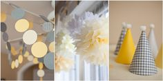 yellow and grey 1st birthday party