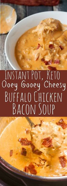 This Instant Pot Keto Buffalo Chicken Bacon Soup has only 3 carbs per serving! Full of cream cheese cheddar cheese chicken and bacon it's the perfect oozy-gooey warm and cozy comfort food for yourMore Guilt Free Keto Diet Friendly Stew & Soup Recipes Keto Crockpot Recipes, Diet Recipes, Healthy Recipes, Crockpot Ideas, Cream Cheese Keto Recipes, Thm Soup Recipes, Chicken And Cheese Recipes, Best Low Carb Recipes, Venison Recipes