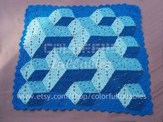 Diamond crocheted baby blanket -- gorgeous 3D!  By Sara Palacios