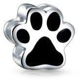 Bling Jewelry Sterling Black Enamel Puppy Dog Paw Print Heart Bead Charm.