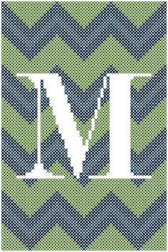 #crossstitchpattern #chevron #zigzag #initial #personalized #diy #crafts