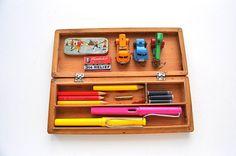 Vintage Wooden Pencil Case 1950s Kids Pen Storage Box by Inklinks, £10.50
