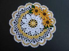 """Handmade Hand Crocheted Doily, Spring Sunflowers, Yellow, 8"""""""