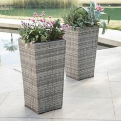 Engineer the landscaping vision of your dreams with the Belham Living Brookville Wicker Square Planter - Set of 2 . Each resin wicker planter in this. Wicker Couch, Wicker Headboard, Wicker Mirror, Wicker Bedroom, Wicker Man, Wicker Trunk, Wicker Shelf, White Wicker, Wicker Baskets