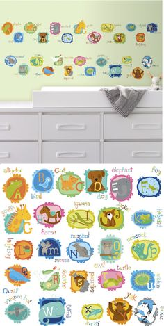 ABC Animal Peel and Stick Wall Decals - Wall Sticker Outlet