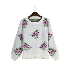Woman'S Rose Pattern Round Neck Sweater