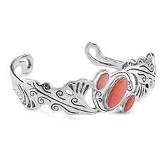 Sterling Silver Coral Cuff Bracelet, Average *** You can get more details by clicking on the image.