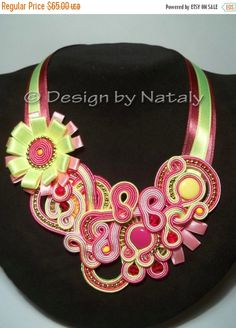 ON SALE FREE Shipping  Soutache Jewelry Necklace by DesignByNataly