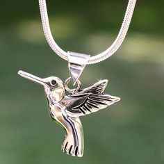 Sterling silver pendant necklace, 'Hummingbird Secrets' - Hand Made Fine Silver Bird Necklace from Mexico Handmade Sterling Silver, Sterling Silver Chains, Sterling Silver Pendants, Bird Necklace, Silver Pendant Necklace, Silver Earrings, Silver Bracelets, Silver Jewelry, Silver Ring