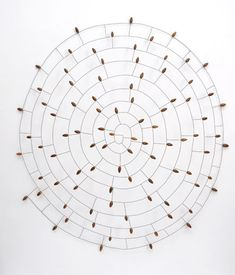 Mari Andrews. Wire and acorn sculptures, organic art.