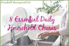 8 essential daily household chores plus free printable checklist {on Household Management 101}