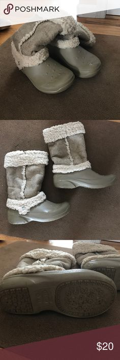 Croc winter boots These are cream color croc winter boots and surprisingly warm and wicked comfy ! CROCS Shoes Winter & Rain Boots